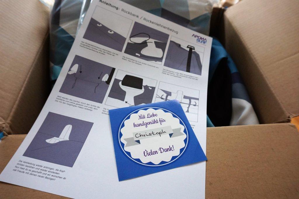 Apona Surf Sitzbezüge verpackt und persönlicher Begrüßung