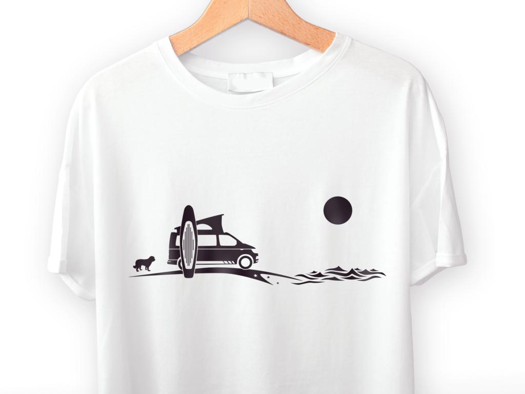 Camper T-Shirt VW T6 mit Hund und SUP