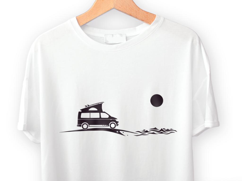 Camper T-Shirt VW T6 mit Surfbrett